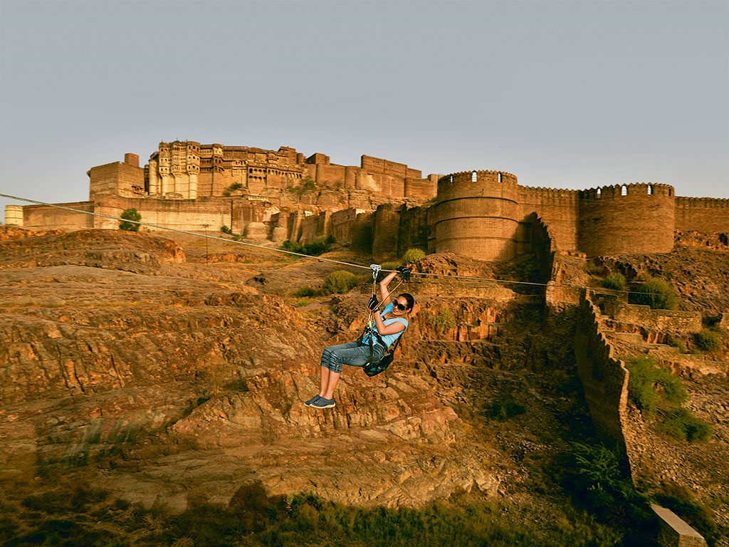 Zipline in Mehrangarh fort
