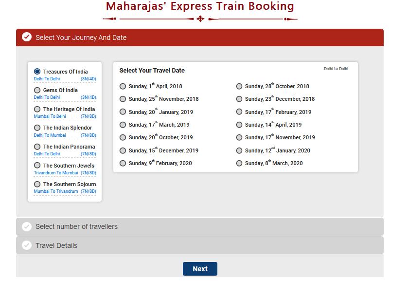 Maharaja Express Booking
